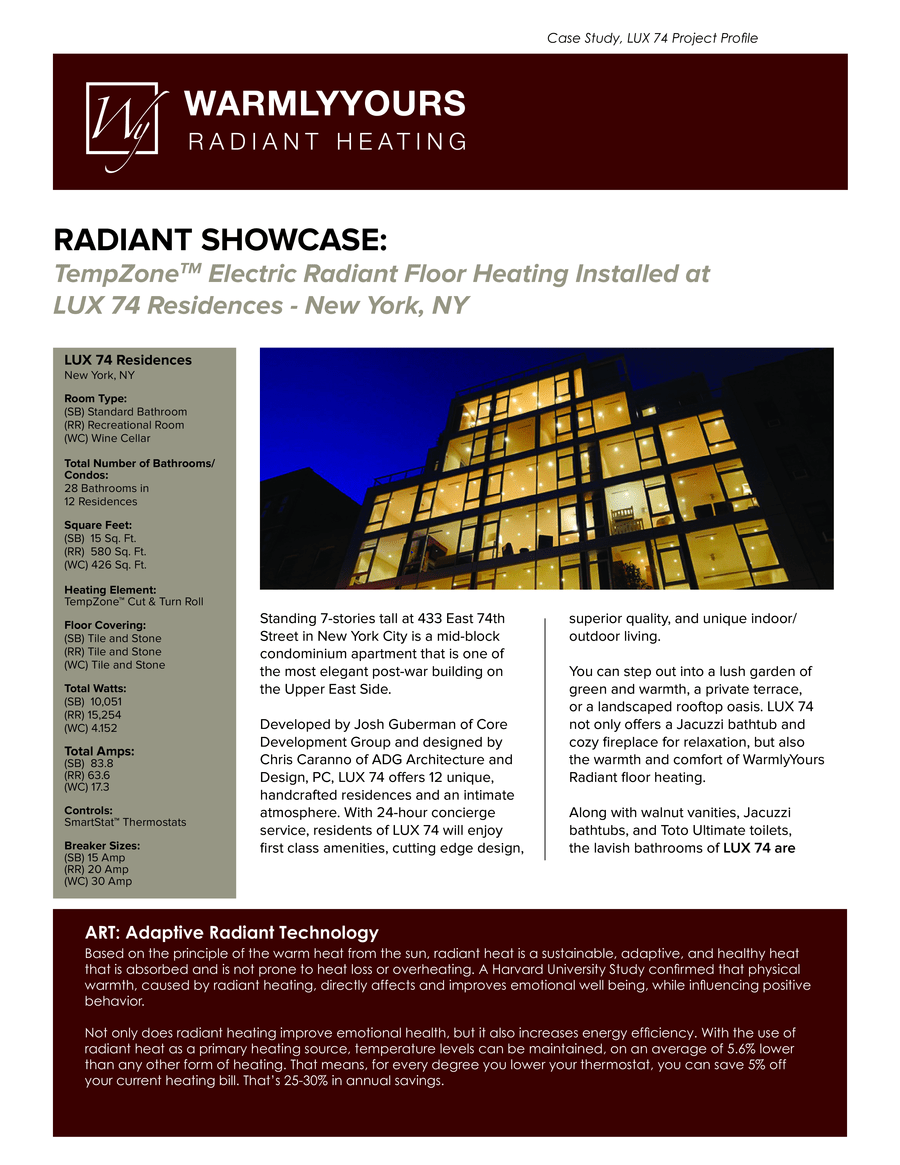 Case study lux 74 residences a