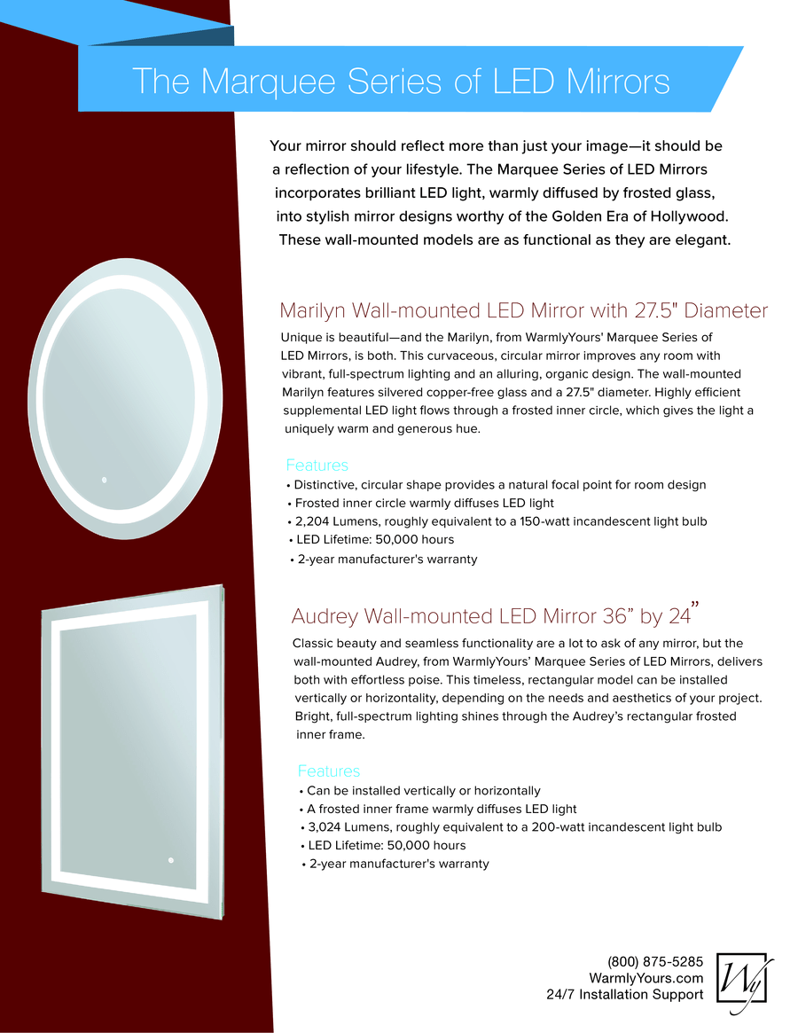 Led mirror marquee series sell sheet usa a