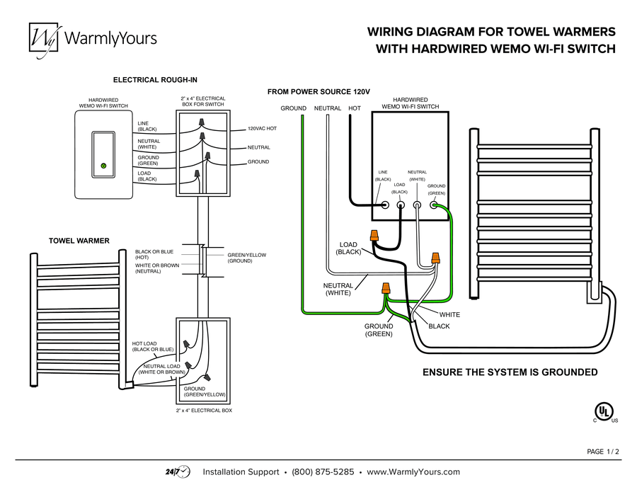 wiring diagram towel warmers with hardwired wemo wi fi switch a wiring rh warmlyyours com Walmart Towel Warmer Wall Mounted Towel Warmer