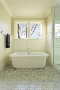 Radiant heat warms up bathroom tile flooring