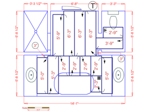 This floorplan shows how to install TempZone Flex Roll radiant heat in a master bathroom.