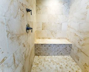 Shower bench made comfortable with radiant heat from WarmlyYours