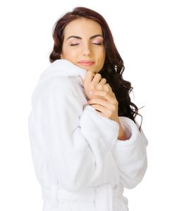 A cozy bathrobe exudes relaxation.