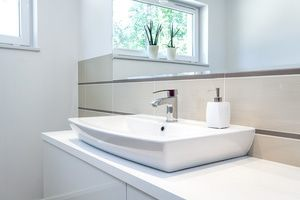 Modern sink adjusted to the right  height for the homeowners