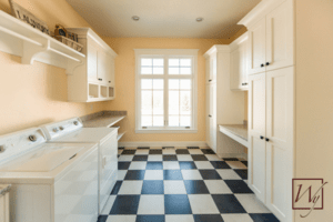 Heated laminate floors can add affordable comfort to your laundry room.