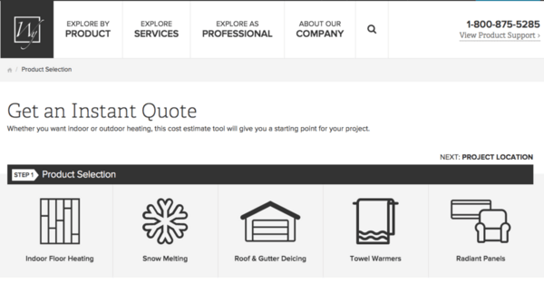Instant Quote tool offers an estimate and installation plan