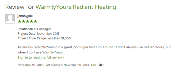 WarmlyYours Radiant Heating encourages online reviews by making it easy