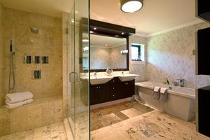 Luxury bathroom with heated shower bench
