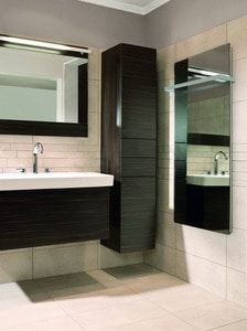 The Lava Mirror adds beauty and increased functionality as a towel bar and mirror defogger