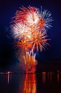 Spectacular red, white, and blue fireworks display