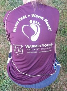 WarmlyYours team all sported matching merlot t-shirts reading, Warm Feet, Warm Hearts.