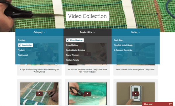 WarmlyYours' new Video Collection page allows users to filter videos by category, product line or series.