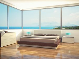 Luxurious hardwood flooring with radiant heat enhances a bedroom almost as much as the view