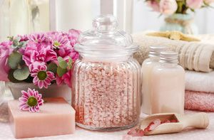 Bath products can be showcased in beautiful jars or vases.