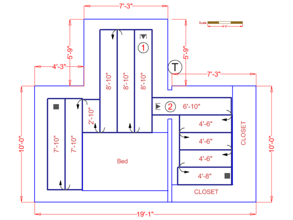 Large bedroom floor plan shows Environ floor heating system
