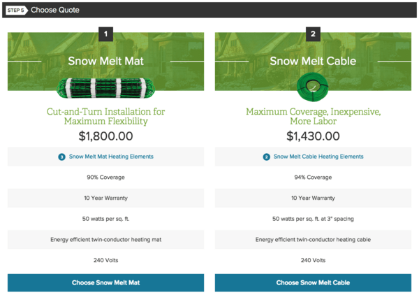 Snow Melt Mat or Cable choices