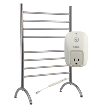 Barcelona towel warmer with Wemo Switch for mobile phone programming