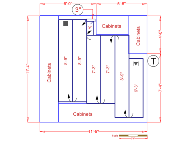 Kitchen floor plan for radiant heat installation