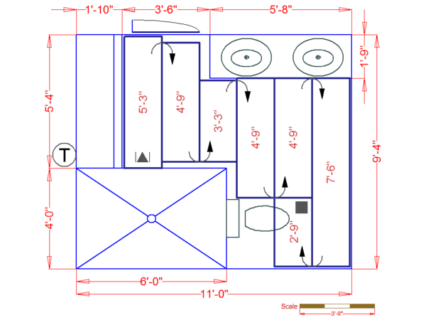 Radiant heating floorplan for Seattle bathroom
